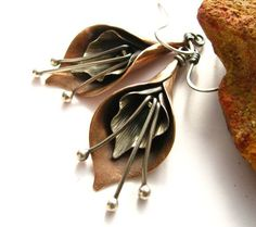 Calla Lily Earrings – Mixed Metal Flower Jewelry – Sterling Silver And Copper Earrings – Artisan Metalsmith Jewelry via Etsy