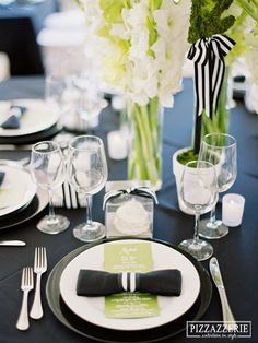 Black & White Striped Tablescape Wedding