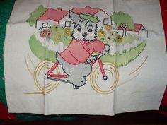 Embroidered Dog on a Bicycle Pillow Case, Vogart 1940's