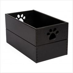 "$109.00-$155.71 Get organized! Keep your dog's stuff tidy and all in one spot in this handsome hardwood storage box. Each is handcrafted with meticulous attention to quality and detail, and it's available in a variety of great-looking finishes. Features: · Perfect for stowing toys, leashes, balls and bones · Hardwood construction is built to last with ""Dovetail"" corner design · Low profile offers ..."