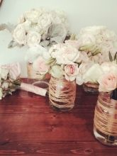 For Sale - 3 Mason Jar Vases- Gold Tread Wrapped, perfect for bridal bouquets