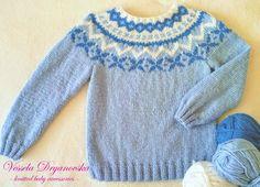 Wool Sweater Icelandic Blue Sweater Kids Knit Pullover Kids Wool Jumper Size 5 Y by veseladr on Etsy