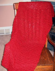 "4 SALE! ITEM #2354 / 'CHILI' LION BRAND HOMESPUN YARN / heathered solid dark fiery red / 24-26"" x 60-62"" / $75.00"