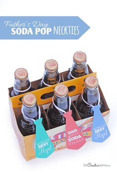 Super cute, quick and easy Father's Day gift idea! Soda Pop Necktie Printables {Great gift idea for Dad Diy Father's Day Crafts, Father's Day Diy, Fathers Day Crafts, Crafts For Kids To Make, Easy Father's Day Gifts, Great Gifts For Dad, Father's Day Activities, Father Knows Best, Dad Day