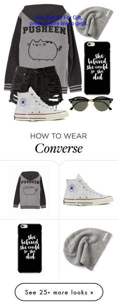 Untitled #714 by mriss-abbrie on Polyvore featuring Pusheen, Converse and Ray-Ban