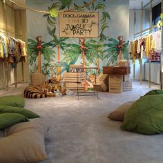Almost ready for the Jungle Party in collaboration with and Jungle Theme Rooms, Safari Room, Jungle Bedroom, Big Boy Bedrooms, Kids Bedroom, Teen Room Decor, Baby Decor, Disney Playroom, Kids Bedside Table