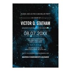 Blue Galaxy Bar Mitzvah Party Invite Your story is written among the stars.a galaxy themed bar mitzvah party invite that is sure to catch everyone's eye! Bachelor Party Invitations, Bar Mitzvah Invitations, Graduation Party Invitations, Bridal Shower Invitations, Custom Invitations, Graduation Ideas, Invites, Bar Mitzvah Party, Bat Mitzvah