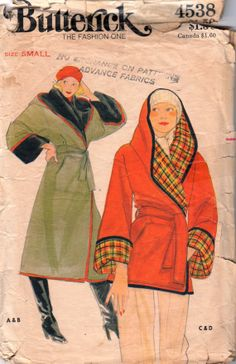 Butterick 4538 1970s Misses Reversible Hooded Wrap Coat and Jacket womens vintage sewing pattern by mbchills