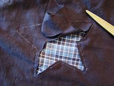 """Star cut-out """"reverse appliqué"""" - earlier pinner intends to use if for a denim and flannel picnic blanket - clever! Sewing Hacks, Sewing Tutorials, Sewing Patterns, Techniques Couture, Sewing Techniques, Diy Clothing, Sewing Clothes, Quilting Projects, Sewing Projects"""
