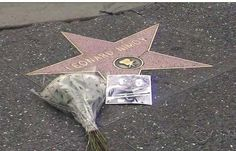 The Los Angeles Chamber of Commerce laid flowers on the star of Leonard Nimoy, 27 February 2015.