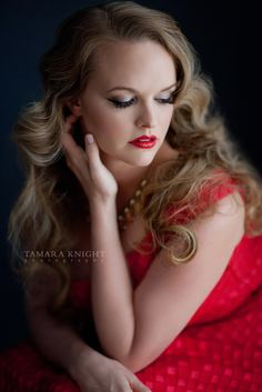 Beautiful contemporary portrait of a gorgeous blond woman in a red dress by Tamara Knight Photography, Orlando Photographer