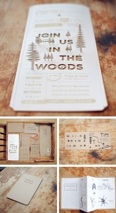 Invites/map for rustic wedding... My dream is a wedding at my cabin, perfect.