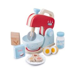 New Classic Toys - Wooden Role Play Baking Mixer Set The PERFECT gift for a new play kitchen Baking Mixer, Baking Set, Dango Peluche, Fresh Milk, Toy Kitchen, Wood Toys, Classic Toys, Girl Nursery, Industrial Style