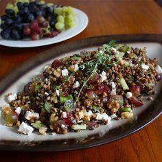 Linzensalade met bleekselderij, druiven en feta #voedselzandloper