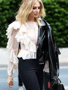 Retro Ruffled Shirt & Black leather Jacket.