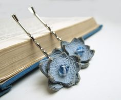 Leather flower barrettes for Mother's Day, they come in other colors, too!