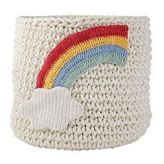 Featuring a soft, cotton construction, these knit storage bins are perfect for storing small toys, clothes and more. Choose from an anchor or a rainbow design, and always keep your nursery in tiptop shape.