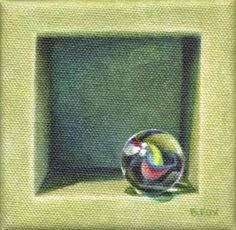 MARBLE IN GREEN BOX oil still life painting, painting by artist Barbara Fox