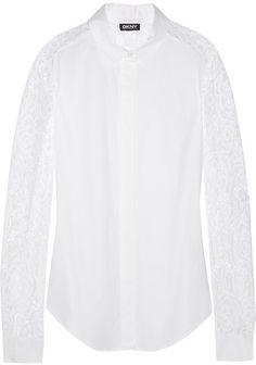DKNY Lace-paneled stretch-cotton poplin shirt on shopstyle.com
