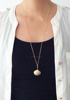 Gold Shell Necklace Long Layering Modern Jewelry Beach Seaside Under t - Jewelsalem