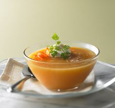 I adore Royal Caribbean chilled fruit soups. Chilled Carrot Apple Soup calls for a touch of ginger to give it a zing #recipes #appetizer