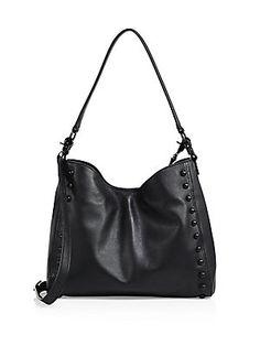 Loeffler Randall Mini Studded Leather Shoulder Bag - Black