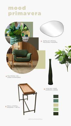 Tonalidades em verde, que trazem um pouco da natureza para o ambiente, folhagens e materiais que remetem a essa atmosfera voltada a essa estação cheia de vida :) Que tal repaginar a sua sala de estar nesse mood? Confira em nosso sitemnovidades em móveis e itens de decoração. #OccaModerna #OccaModernaEVocê #Decoracao #Arquitetura #PortoAlegre #HomeDesign #Decor #Ambientes #DecoracaoDeAmbientes #ParaDecorar #Primavera #Moodboard #Verde #Natureza #Madeira #MesaLateral #Poltrona #LiderInteriores