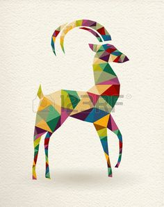 New Year of the Goat 2015 colorful geometric shape greeting card. Stock Vector