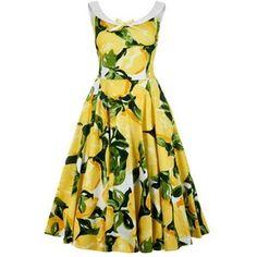 Maddison Lemons Print Swing Dress
