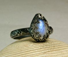 Cocktail Ring Rainbow Moonstone Sterling by TazziesCustomJewelry