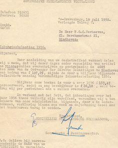 Inkomstenbelasting 1956 KNVB correspondentie