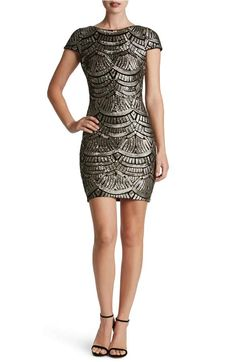 Dress The Population Tabitha Sequin Body-Con Dress - Platinum at Nordstrom
