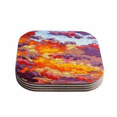 Kess InHouse Jeff Ferst 'Evening Multicolor Sky' Sunset Sky Coasters