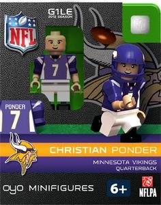 NFL Minnesota Vikings Christian Ponder Figurine by OYO. $9.99. New Officially licensed building toy figures of your favorite NFL player with rotating arms bending knees and player likeliness. Comes with football helmet and facemask water bottle football cap rectangular stand and a unique OYO DNA number.