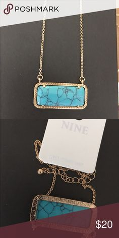 """Turquoise Fashion Pendant /Necklace Natural stone rectangle turquoise pendant with gold tone frame of about 1.5"""" L x0.70"""" W . Gold tone chain L 18""""+3""""ext Jewelry Necklaces"""