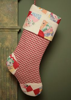 Antique Homespun and Vintage Quilt Christmas Stocking