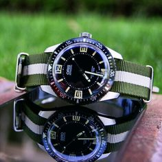 Heading into the weekend with the new Olive/Khaki/Olive Military Type Strap on the Oris Diver 65!!!