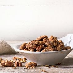 Spicy-Sweet Pecans | MyRecipes.com The egg white helps the spice mixture adhere evenly and gives the pecans a crisp, glossy coating.
