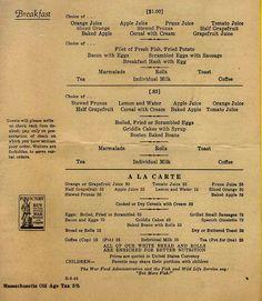 Dining car menu WW ll...