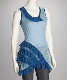 Take a look at this Blue Ruffle Tank by Ruby Rose on #zulily today!