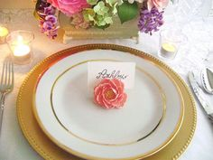 peony place card holder
