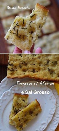 Primogénita da Pizza, a Focaccia com Alecrim é um pão retangular e achatado de massa fofinha e superfície dourada e crocante.