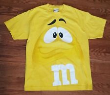 M&M's Yellow Candy Face Novelty T Shirt XL Yellow Chocolate Funny