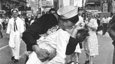 Iconic KISS on 70th Anniversary V-J Day shows BODY Language EXERBERANCE!  From Head-to-Toes, the BODY Always Shows...the TRUTH!!
