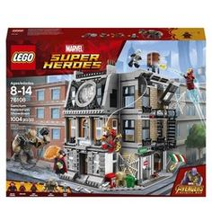 It's a LEGO® Marvel Super Heroes 76108 Sanctum Sanctorum Showdown! Cull Obsidian and Ebony Maw are attacking Doctor Strange's Sanctum Sanctorum. Swing down from the rooftop with Iron Spider-Man to tackle them. Lego Marvel Spiderman, Iron Man Spiderman, Lego Marvel's Avengers, Lego Marvel Super Heroes, Superhero, Sanctum Sanctorum, Lego Jurassic World, Lego System, Toys Uk