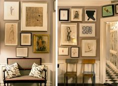 Love this gallery wall! Mixed frames and prints .. (Kate Spade)