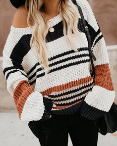 3876d303d2c Novelty Striped Chenille Sweater Boho Outfits