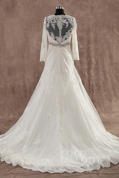 Romantic A-Line V-Neck Train Lace Long Sleeve Zipper with Button Wedding Dress with Beading LWXT1406B #weddingdresses #cocomelody