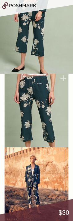 "Anthropologie Chrysanthemum Pants Flowy green new These versatile pants pair with a graphic tee or a structured blouse for go-anywhere style.  Veteran design trio Giuseppe Valentini, Chris Berdine and Nik Apostolopoulos teamed up in 2001 to channel their expertise in fitted, sleek menswear styles into a collection of innovative, borrowed-from-the-boys designs for women.   Viscose, rayon; polyester lining Side pockets Pull-on styling Dry clean Imported Dimensions  Regular: 9"" rise 26"" inseam…"