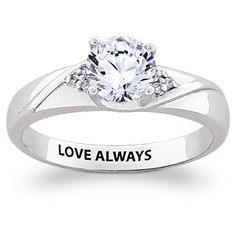 Sterling Silver CZ & Diamond Engraved Promise Ring - 35914 ...